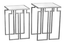 Silver Parisienne Metal Mirrored Coffee Console End Side Lamp Tables Set of 2