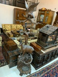 Black Forest Antique Hand Carved Chamois and Bird Hall Stand 19th Century