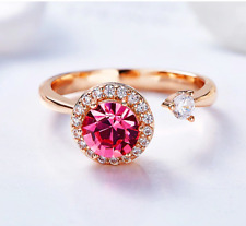 RADIANT PINK TOURMALINE SOLITAIRE 14K ROSE GOLD Filled Ring Adjustable 5-9 ITALY