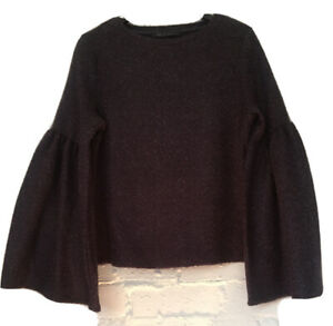 M&S Lovely Wide Sleeved Jumper Size 8 Navy Mix