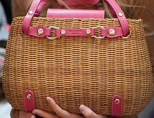 "Kate Spade SNAKE CHARMER BASKET ""CHERRY VALLEY"" PINK LEATHER WICKER STRAW BAG"