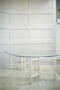 20th century glass and bleached wood dining table