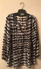 Cha Cha Vente Top XL Black Gray Womens Long Sleeve Faux Leather Accent Blouse