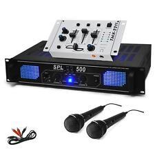 """PACK SONO PA KARAOKE SET DJ AMPLI SKYTEC TABLE DE MIXAGE BLANCHE RACK 19"""" 2x MIC"""