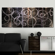 Contemporary Metal Painting Abstract Wall Art Decor Accent - Night Energy