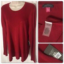 0200318 New Vince Camuto XL Golden Era Crimson Tunic Top Long Sleeve Blouse NWT
