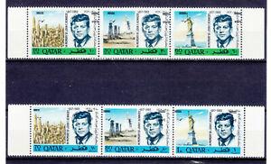 QATAR 1966, KENNEDY OPT OF NEW CURRENCY ERROR: INVERTED OPT, VERY RARE SET!  MNH