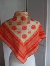 """Robinson & Golluber Scarf Tangerine Tan Color Lace Design 26"""" Square 66cm"""