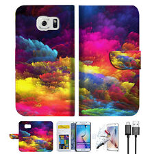 Colorful Cloud Wallet Case Cover For Samsung Galaxy S7 -- A021