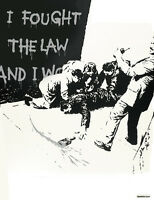 "BANKSY STREET ART CANVAS PRINT I fought the law BW 16""X 12"" stencil poster"