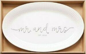 Mud Pie   MR AND MRS EST. 2019 PLATTER ✪NEW✪ 40700099 PLATE WEDDING MARRIAGE USA