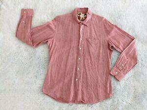 Glanshirt Size 44 17.5 Slowear Men's Long Sleeve Button Up Shirt Linen Blend EUC