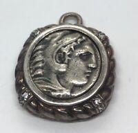 Vintage Sterling Silver Necklace 925 Pendant Roman Greek Coin