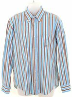 HENRY COTTONS Mens Shirt Size 40 Medium Multicoloured Striped Cotton  Y206
