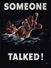 GUERRA di propaganda Seconda guerra mondiale qualcuno ha parlato marinaio USA NEW art print poster cc4172