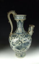 Chinese Antique B&W Porcelain Wine Pot with Phoenix Pattern