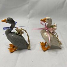 Rare 2 Vintage Renaker Brazel Beachstone California Duck Goose Ceramic Ornament