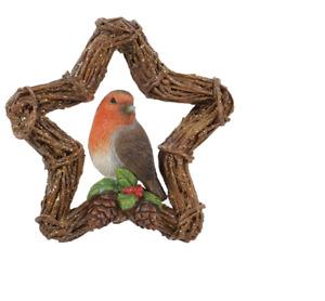 Vivid Arts - Hanging Christmas Robin Rattan Star Wreath- Decoration 8cm High