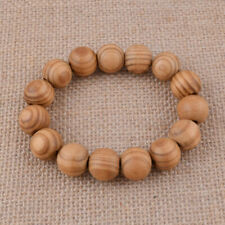 Men's Natural Wood Grain Jewelry Bangle Fashion Beaded Bracelet Small Gift 16mm