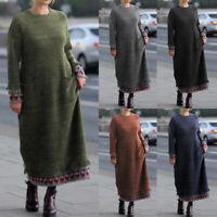 ZANZEA Femme Robe Couture à imprimée Manche Longue Col Rond Loose Dresse Plus