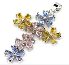 SUPER White Gold Sterling Silver Kunzite Tanzanite Citrine Flower Cross Pendant