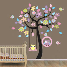 Beautiful Tree with Hanging Owls Pink Flowers Wall Sticker Decal