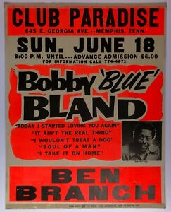 Bobby Blue Bland Club Paradise Memphis 1980 Globe Boxing-Style Cardboard Poster