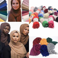 New Women Ladies Premium Viscose Maxi Crinkle Cloud Hijab Scarf Shawl Soft Islam