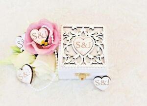 Personalised Double Wedding Ring Bearer/Engagement Ring Box - 'Filigree' Design