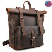 """Vintage Outdoor Leather Backpack Men Travel 17"""" Laptop Satchel Daypack Book Bag"""