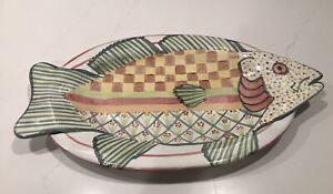 "MacKenzie-Childs 19"" Pink/Yellow/Green Fish Platter Serving Tray Pottery"
