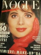 VOGUE Germany 2/1986 ISABELLA ROSSELLINI David Seidner MICHEL COMTE Andre Rau
