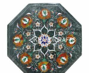"12"" Green Marble Top Table Semi Precious Stones Inlay Handmade Art Work"