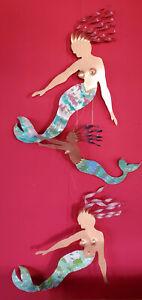 3 VTG Metal Risque Mermaids Wall Art Hanging Seaside Beach Home Decor Signed RSG