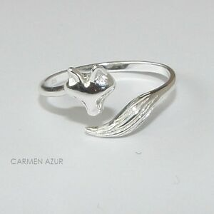 Solid 925 Sterling Silver MIDI Ring FOX Design, Above Knuckle Stacking, Gift Bag