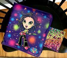 VTG Lot Lisa Frank Rock Star Girl W/ Guitar Zipper Binder + Leopard Stickr Sheet