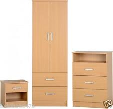Beech Effect / 2 Door Wardrobe / 3 Drawer Chest / 1 Drawer Bedside Chest POLLY