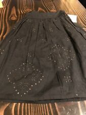 LILI GAUFRETTE Girls BLACK lined Cotton Skirt FRANCE Size 8 Embroidery Sequin