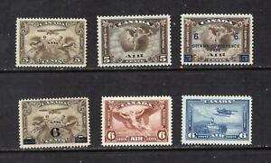 Canada C1-5 Airmails Mint FVFNH, CV $257 (Unitrade), see desc.