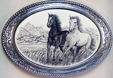 Belt Buckle Barlow Scrimshaw Carved Painted Art Stallions Silver Horse 592614