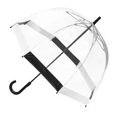 Clifton Royal Dome Birdcage Clear Umbrella Black & White Trim Wedding Or Rain