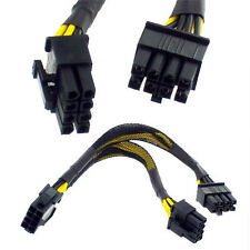 """6"""" EPS-12V 8 pin to Dual 8 pin Y-Splitter PSU Motherboard Power Sleeved Cable"""