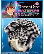 SHERLOCK HOLMES DETECTIVE DEERSTALKER HAT PIPE FUNNY BOYS MENS JOKE PRESENT