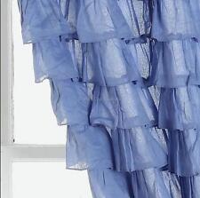 2 Curtain Panels Shabby Coastal Beach Blue Hamptons Ruffle Drapes Ruffled Chic