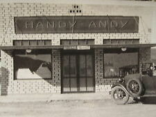 ANTIQUE 1920s HANDY ANDY TRADE SIGN GAS STATION GLASS PUMP OLD TRUCK RURAL PHOTO