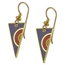 *NEW* Laurel Burch Petite CARLO Purple & Gold Cloisonne Earrings ~