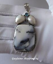 magnifique Grand pendentif ARGENT 925 Opale dendritique Perle bleu topaze