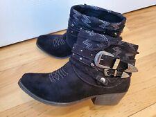 Shabby Shiek Black Western Ankle Booties 7.5 By Sugar