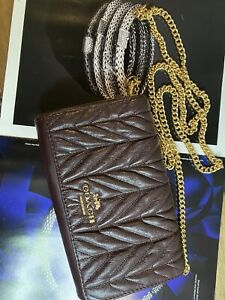 NWT! Coach F39142 Clutch / Crossbody With Quilting in Oxblood /Light Gold