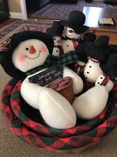 Snowmen Will Melt Your Heart PLUSH SNOWMAN With 2 Baskets (KC)